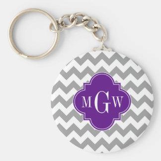 Gray Wht Chevron Purple Quatrefoil 3 Monogram Keychain