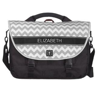 Gray Wht Chevron Zigzag 7P Black Name Monogram Laptop Bag