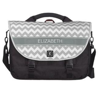 Gray Wht Chevron Zigzag 7P Charcoal Name Monogram Laptop Commuter Bag
