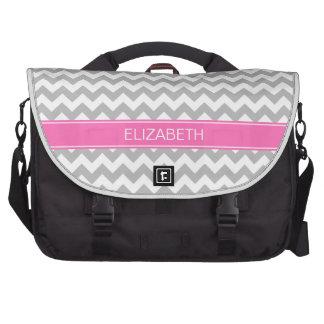 Gray Wht Chevron Zigzag 7P Hot Pink Name Monogram Commuter Bag