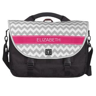 Gray Wht Chevron Zigzag 7P Raspberry Name Monogram Commuter Bags