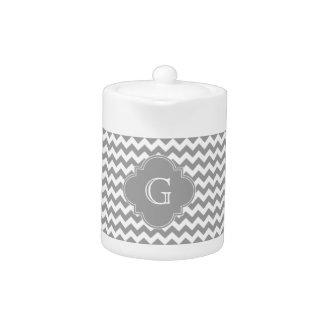 Gray Wht Chevron ZigZag Gray Quatrefoil Monogram Teapot