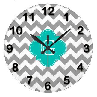Gray Wht Chevron ZigZag Teal Quatrefoil Monogram Clocks