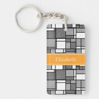 Gray Wht Mondrian Style Cantaloupe Ribbon Monogram Keychain