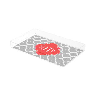 Gray Wht Moroccan #5 Coral Red 3 Initial Monogram Rectangle Serving Trays