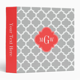 Gray Wht Moroccan #5 Coral Red 3 Initial Monogram Binder