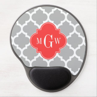 Gray Wht Moroccan #5 Coral Red 3 Initial Monogram Gel Mousepads