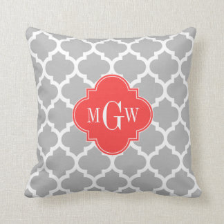 Gray Wht Moroccan #5 Coral Red 3 Initial Monogram Throw Pillow