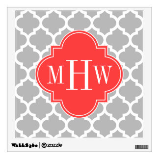 Gray Wht Moroccan #5 Coral Red 3 Initial Monogram Wall Sticker