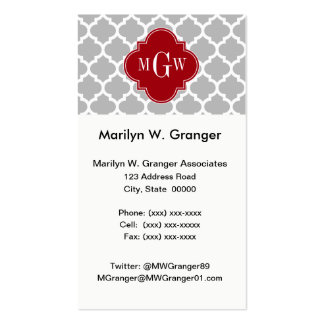Gray Wht Moroccan #5 Cranberry 3 Initial Monogram Business Card