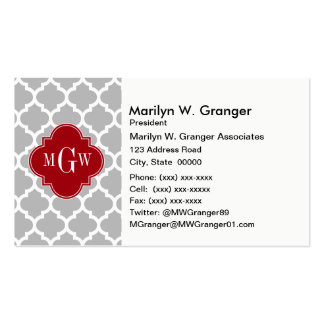 Gray Wht Moroccan #5 Cranberry 3 Initial Monogram Business Cards