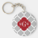 Gray Wht Moroccan #5 Cranberry 3 Initial Monogram Keychains