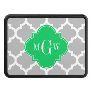 Gray Wht Moroccan #5 Emerald 3 Initial Monogram Trailer Hitch Cover
