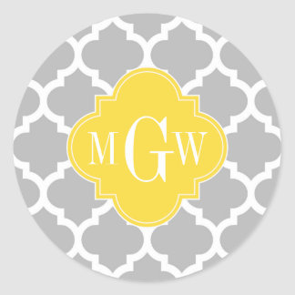 Gray Wht Moroccan #5 Pineapple 3 Initial Monogram Classic Round Sticker