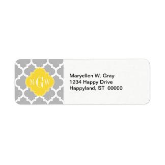 Gray Wht Moroccan #5 Pineapple 3 Initial Monogram Custom Return Address Label