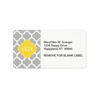 Gray Wht Moroccan #5 Pineapple 3 Initial Monogram Label