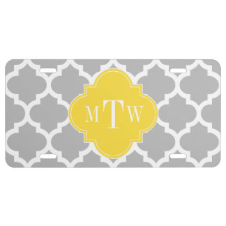 Gray Wht Moroccan #5 Pineapple 3 Initial Monogram License Plate