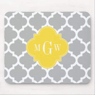 Gray Wht Moroccan #5 Pineapple 3 Initial Monogram Mouse Pad