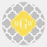 Gray Wht Moroccan #5 Pineapple 3 Initial Monogram Round Sticker