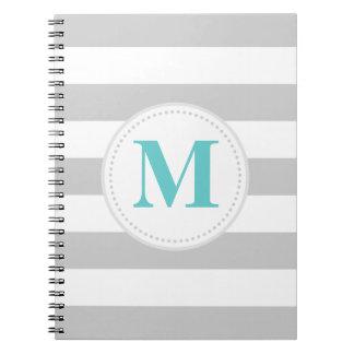Gray Wide Stripe Spiral Notebooks