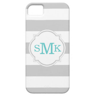 Gray Wide Stripes with Custom Monogram iPhone SE/5/5s Case