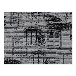 gray windows and scribbles on metal textured backg postcard