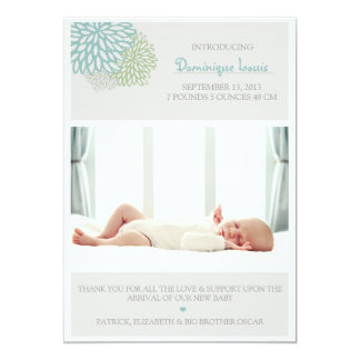 Gray Winter Flowers Photo Birth Announcement