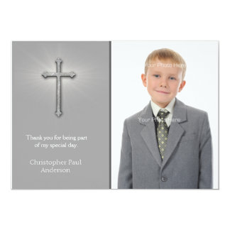 Gray with Cross, Religious Photo Card