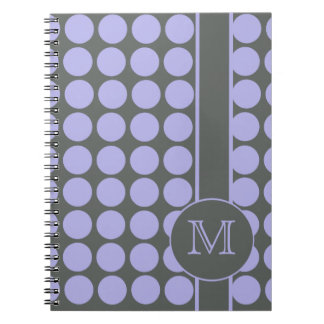 Gray with Lavender Polka Dots Spiral Notebooks