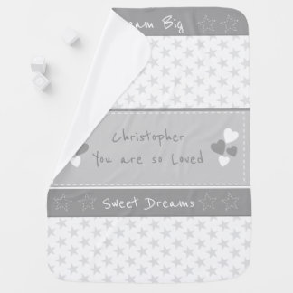 Gray with stars Personalized Dream big Receiving Blanket