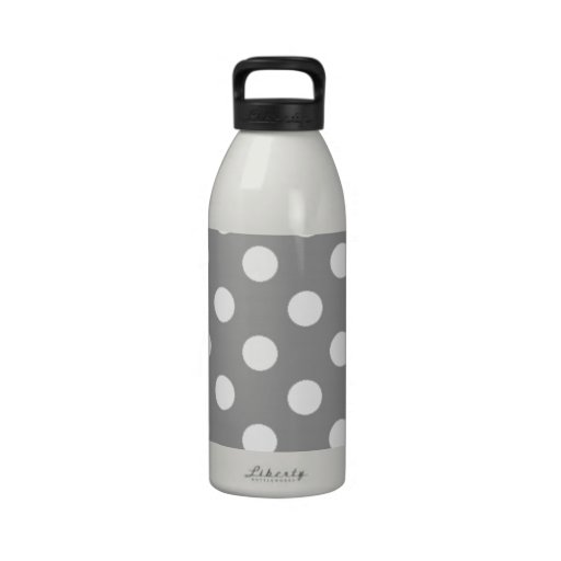 Gray with White Polka Dots Drinking Bottles