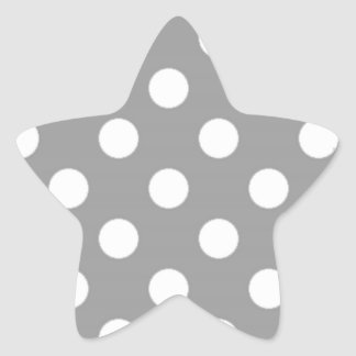 Gray with White Polka Dots Star Sticker