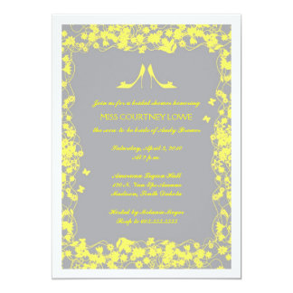 "Gray with Yellow Heels Bridal Shower Invitation 5"" X 7"" Invitation Card"