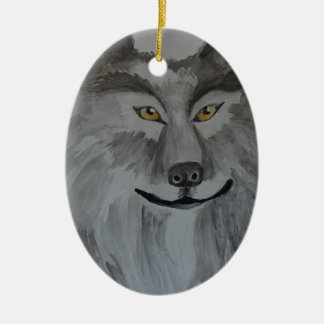 Gray Wolf 16-01.JPG Ceramic Ornament
