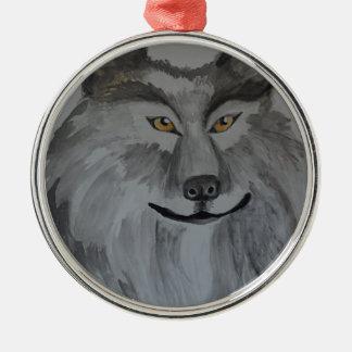 Gray Wolf 16-01.JPG Metal Ornament