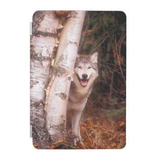 Gray Wolf Behind a Tree iPad Mini Cover