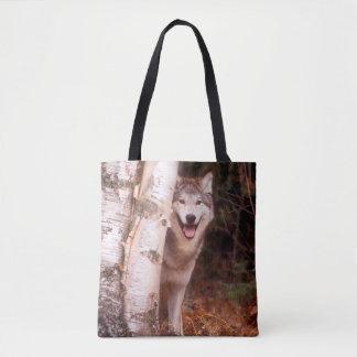 Gray Wolf Behind a Tree Tote Bag