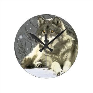 Gray Wolf Round Wall Clock