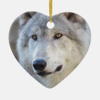 Gray Wolf Closeup Ceramic Ornament