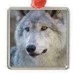 Gray Wolf Closeup Metal Ornament