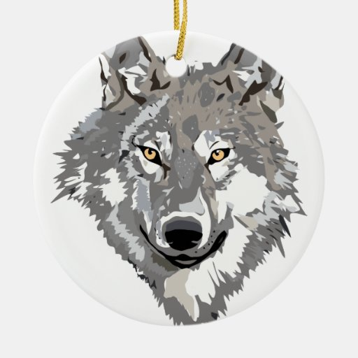 Gray Wolf Design Christmas Ornament