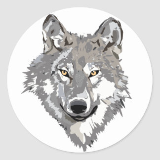 Gray Wolf Design Classic Round Sticker