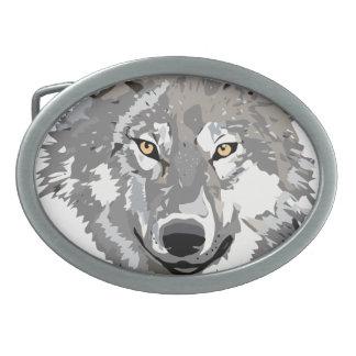 Gray Wolf Design Oval Belt Buckle