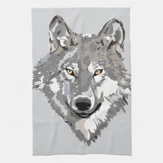 Gray Wolf Design Towel