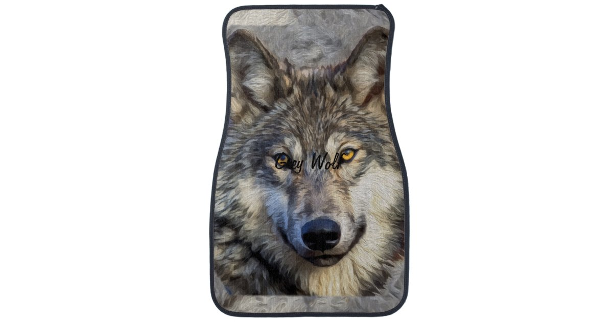 gray wolf dignity car mat zazzle. Black Bedroom Furniture Sets. Home Design Ideas
