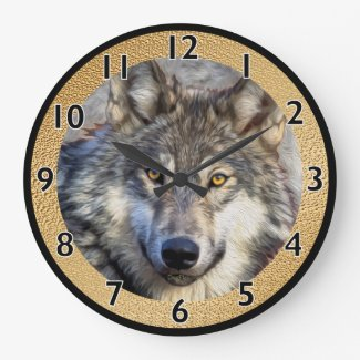 Gray Wolf Dignity Large Clock