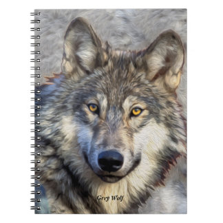 Gray Wolf Dignity Spiral Notebook