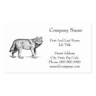 Gray Wolf Elegant Ink Drawing Business Card