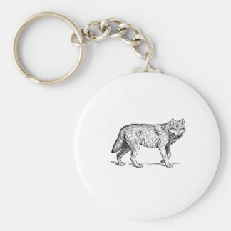 Gray Wolf Elegant Ink Drawing Keychain