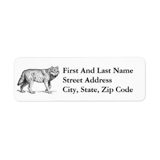 Gray Wolf Elegant Ink Drawing Label